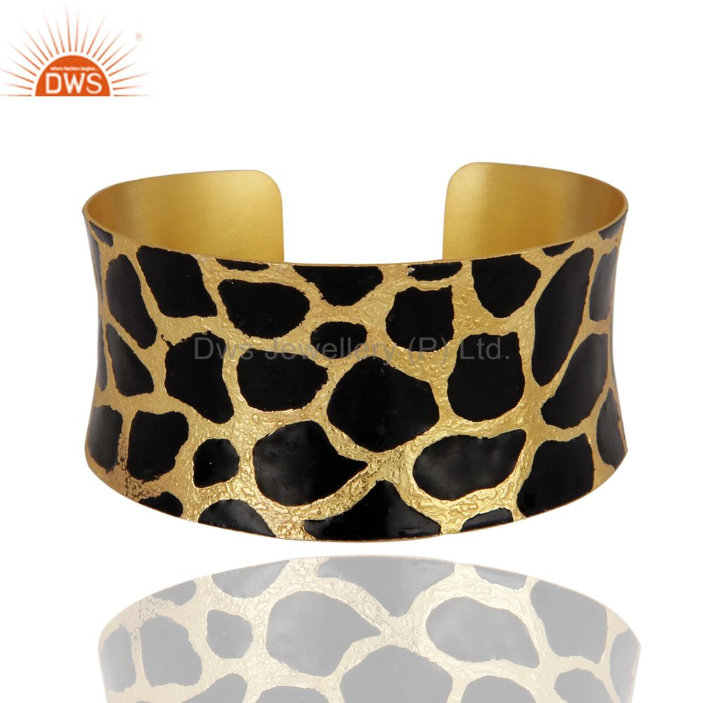 Art Deco 18K Gold Plated Hammered Brush Polished Meena Cuff Bangle