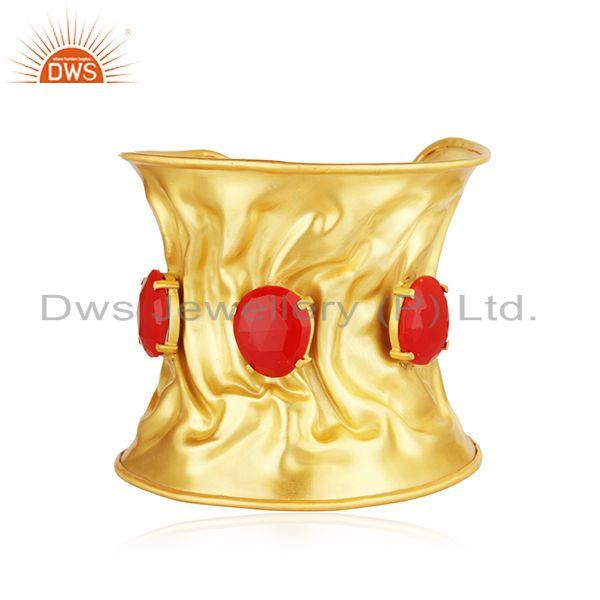 Red Coral Gemstone Gold Plated Brass Fashion Fold Form Cuff Bracelet