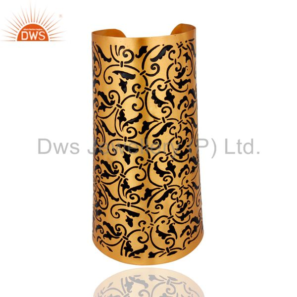 18k Gold Plated Enameled Floral Design Painted New Fashion Bangle Cuff Bracelets