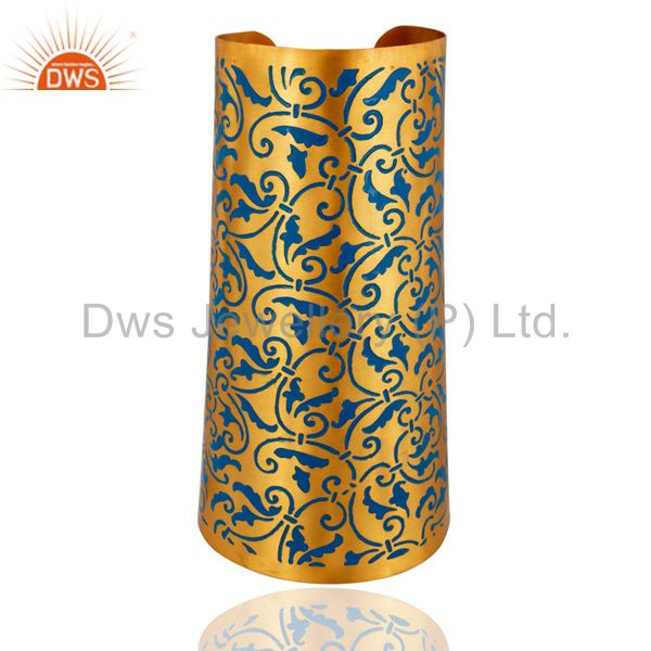 18k Gold Plated Flower Design Enamel Women Fashion Long Wide Cuff Bracelets