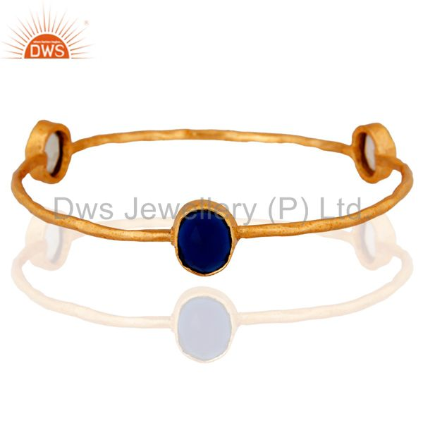Handmade 18k Gold Plated Plated Style Citrine & Lemon Topaz Gemstone Bangle
