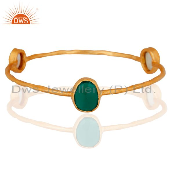 Designer Green Onyx & Citrine Gemstone 18k Gold Plated Womens Fashion Bangle