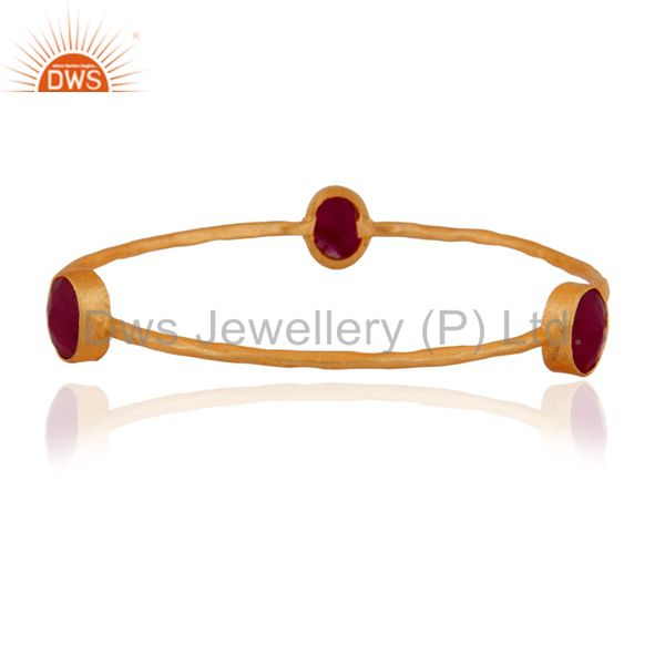 Handmade Dyed Ruby Gemstone 24K Yellow Gold Plated Bangle Jewelry