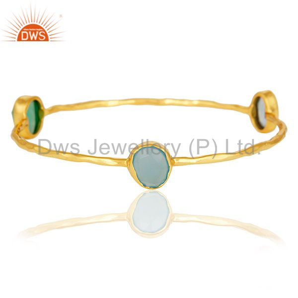 14K Gold Plated Bezel Set Green Onyx And Blue Chalcedony Bangle / Bracelet