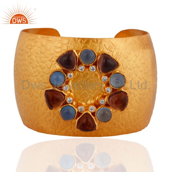 Blue Chalcedony & CZ 18-karat Gold-Plated Brass Texture Finish Wide Cuff Bangle