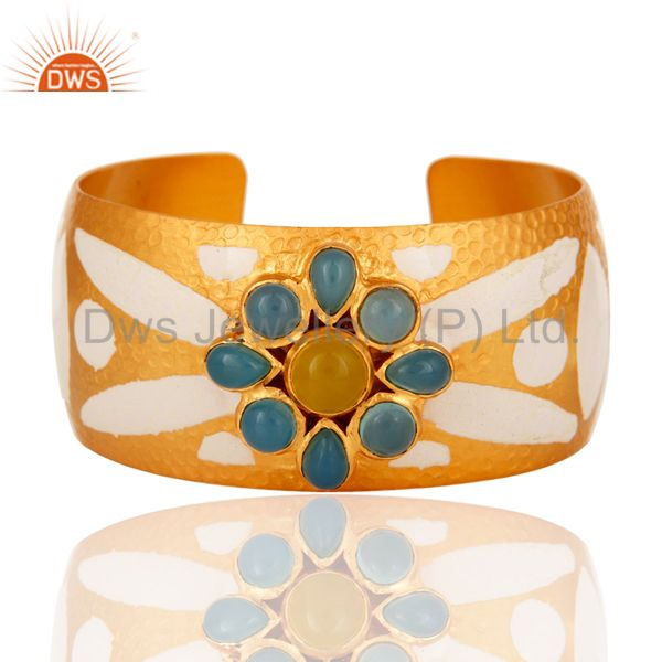 18K Yellow Gold Plated Over Brass Wide Bangle Cuff Bracelet With Enamel Work