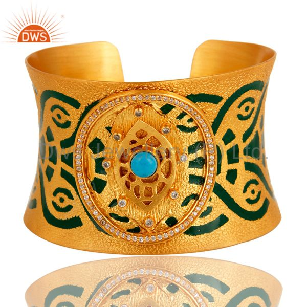 18K Gold Plated Brass Turquoise And CZ Handmade Cuff Bracelet With Enamel Paint