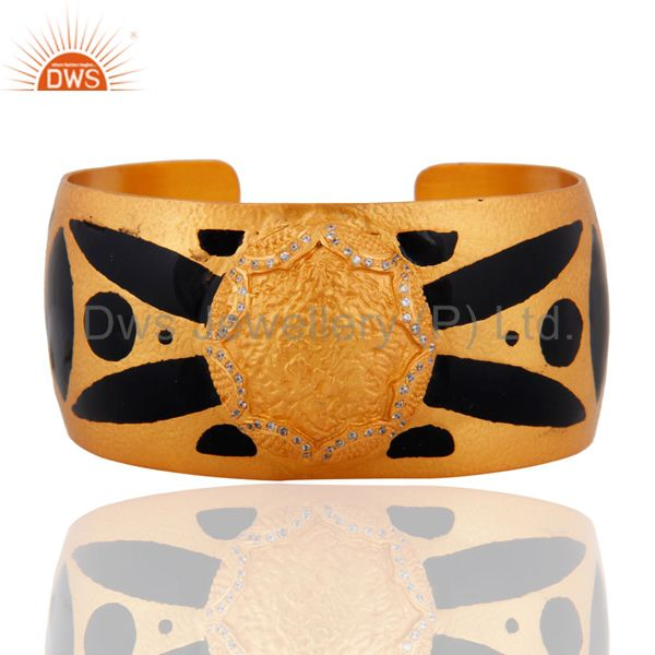 Hand-crafted White Cubic Zirconia Gold Plated Cuff Bracelet With Enamel Painted