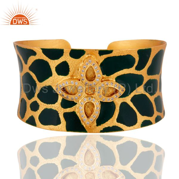 24 Carat Gold Plated Cubic Zirconia Handcrafted Womens Cuff Bracelets Jewelry