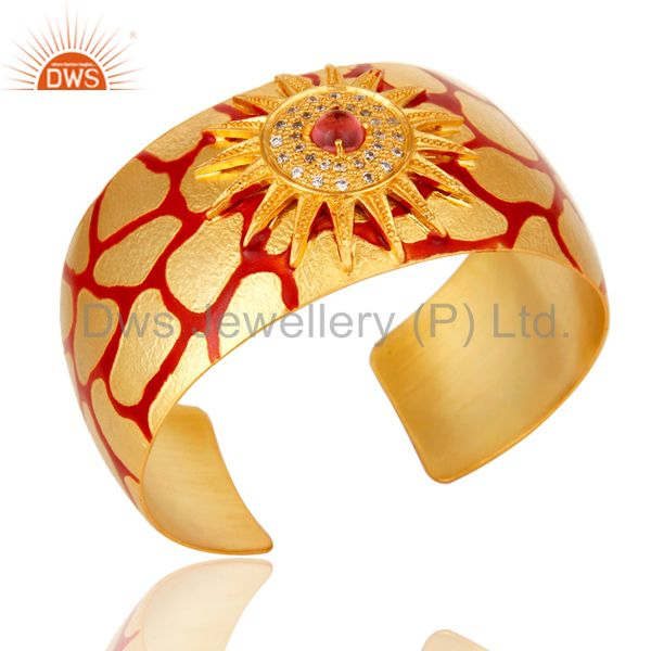 18k gold plated red glass with white cz and red enamel cuff fashion jewelry