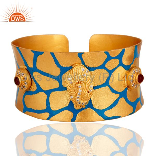 24-karat Yellow Gold Plated CZ Hand-Painted Enamel Womens Cuff Bracelets Bangle