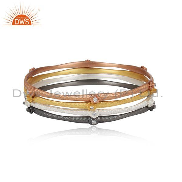 Rose, Gold And Black On 925 Sterling Silver Handmade Bangle