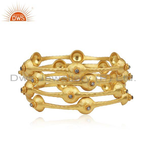 CZ Multi Beaded Gold On 925 Silver Ethnic Handmade Bangle