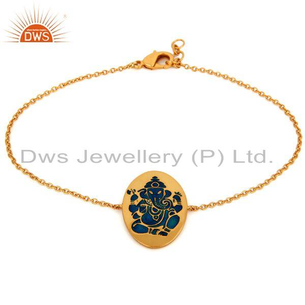 Handmade 18K Yellow Gold Plated Enamel Painted Lord Ganesha Charm Chain Bracelet