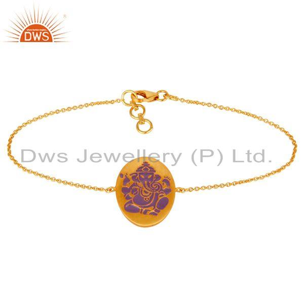18k Yellow Gold Plated Indian God Ganesh Purple Color Enamel Bracelets