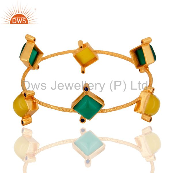 Natural green onyx gemstone bangle 18k yellow gold plated jewelry
