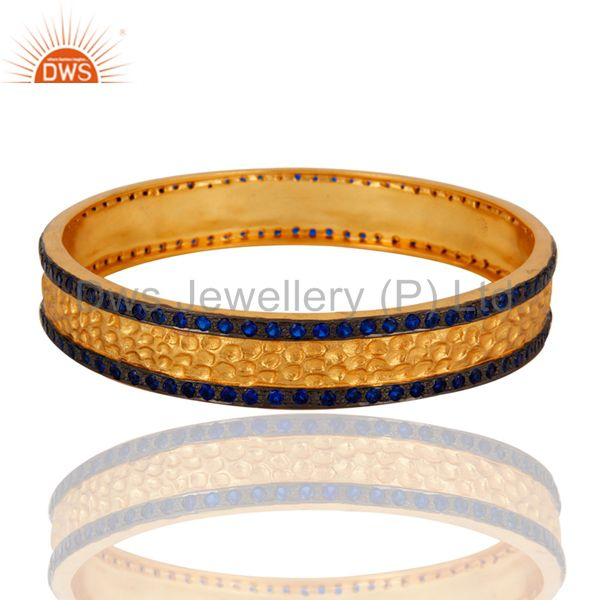 Handmade 18k gold plated sapphire color cubic zirconia bangle