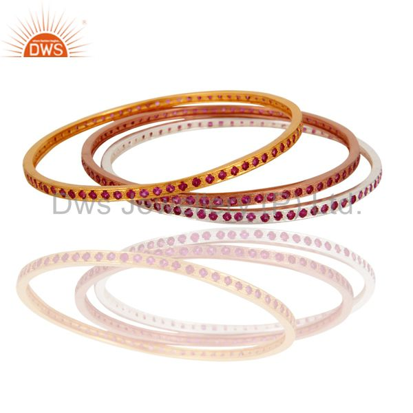 18K Gold Plated Ruby Color Cubic Zirconia CZ Sleek Wedding Fashion Bangle 3 Pcs