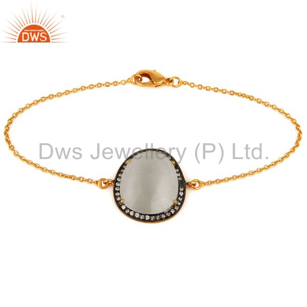 White moonstone & white zircon 18k gold plated brass bracelet