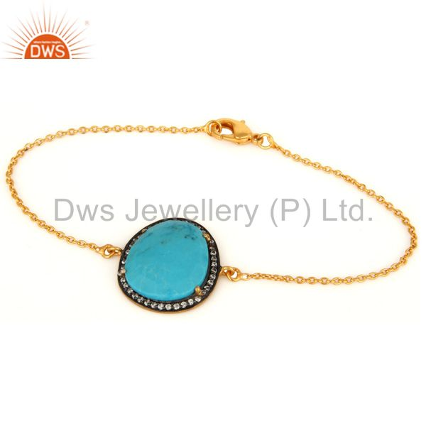 14K Yellow Gold Plated Link Chain Bracelet With Turquoise And CZ