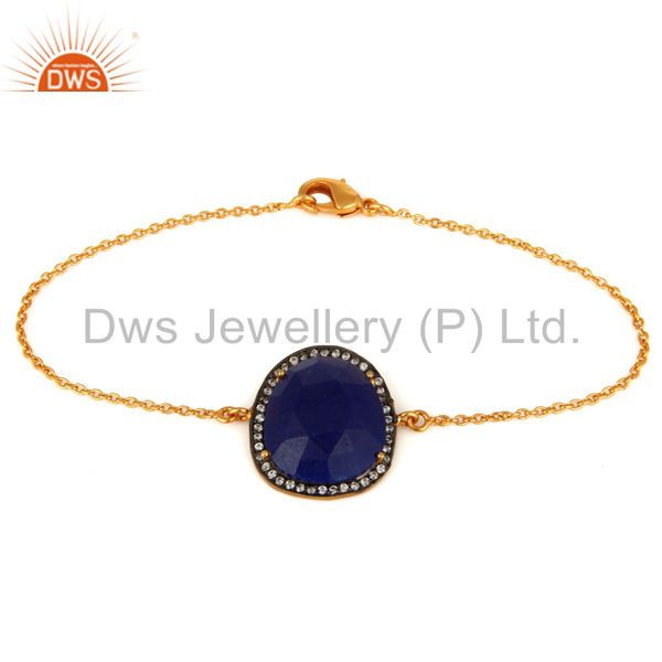18K Gold Plated 925 Sterling Silver Blue Aventurine Gemstone Bracelet With CZ