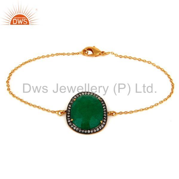 Green Aventurine Gemstone 18-Karat Yellow Gold Plated Chain Bracelet With CZ