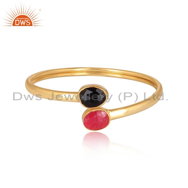 Red aventurine black onyx gems adjustable bangle 24k gold plated