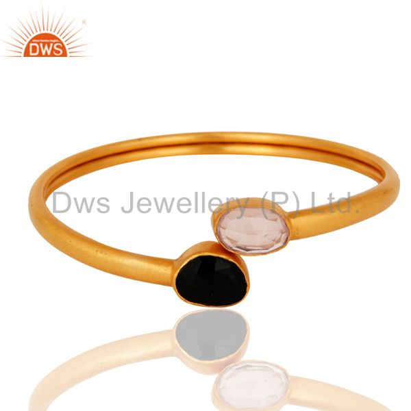 Handmade 24k gold plated rose quartz black onyx adjustable bangle