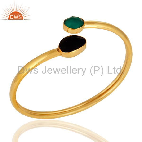 Green Onyx And Black Onyx Handmade Adjustable Bangle - Shiny 18K Gold Plated