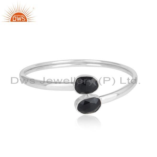 Handmade Sterling Silver 925 Bypass Bangle with Black Onyx