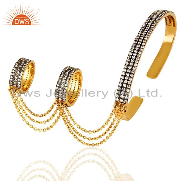 14k gold plated sterling silver pave cz slave bracelet with two finger ring