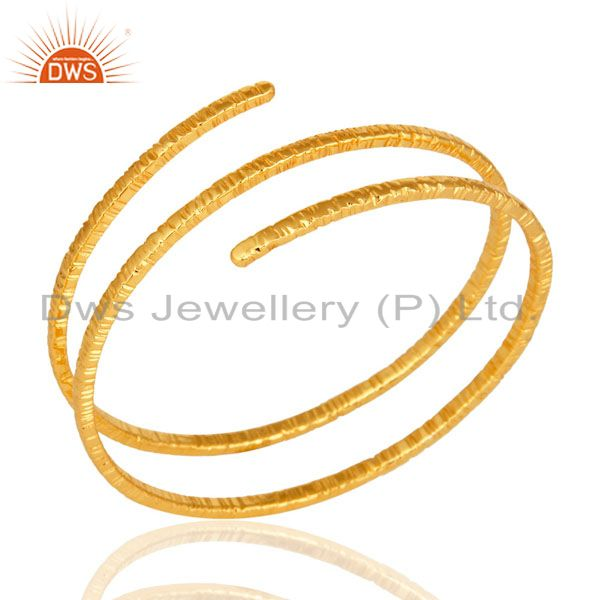 18-Carat Yellow Gold Plated over Brass Wire Bangle Bracelet Jewelry