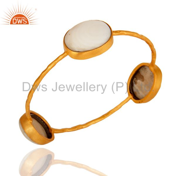 Natural mother of pearl yellow gold plated brass handmade bangle