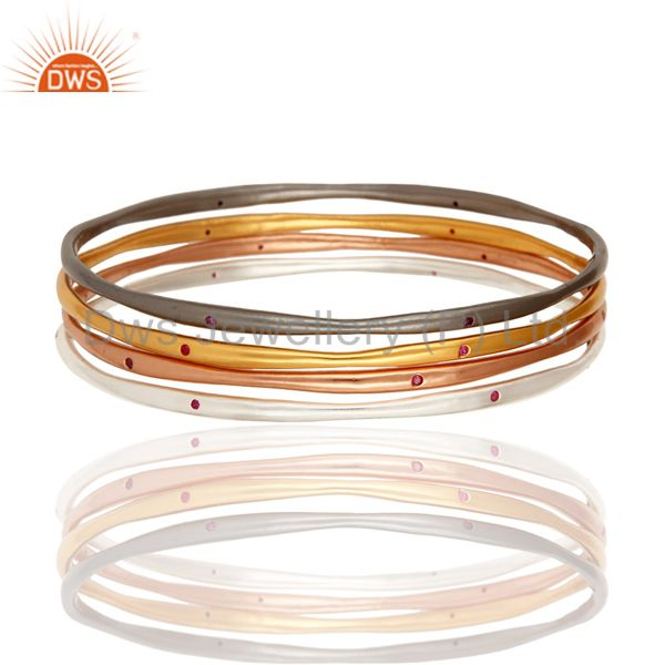 Ruby Color Cubic Zirconia 18K Gold Plated Over Brass Bangles - Set Of Four Pcs
