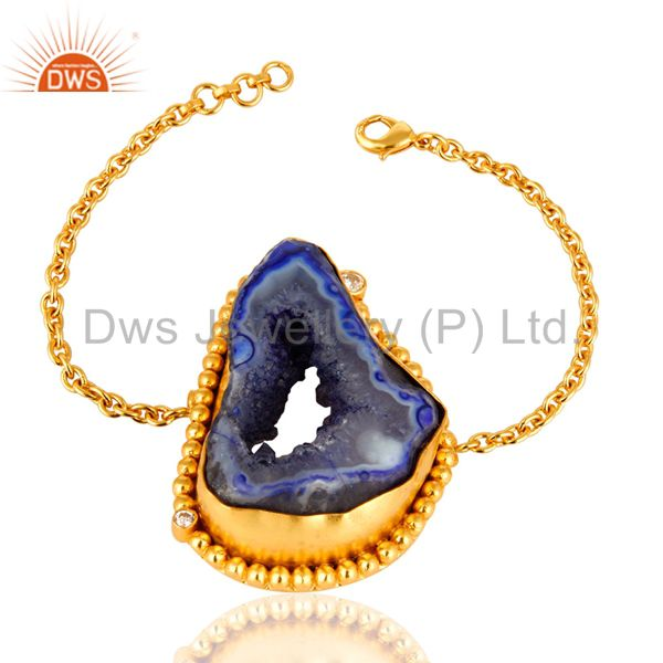 Handcrafted Blue Druzy Agate Slice Geode Yellow Gold Plated Chain Bracelet