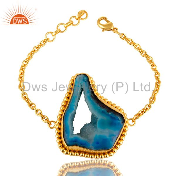 14K Yellow Gold Plated Blue Agate Druzy Geode Fashion Chain Bracelet
