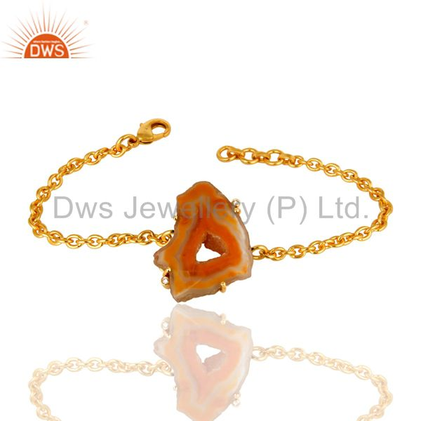 24K Yellow Gold Plated Drusy Quartz Agate Natural Stone Prong Set Bracelet