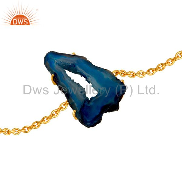 14K Yellow Gold Plated Fashion Chain Bracelet With Blue Druzy Agate