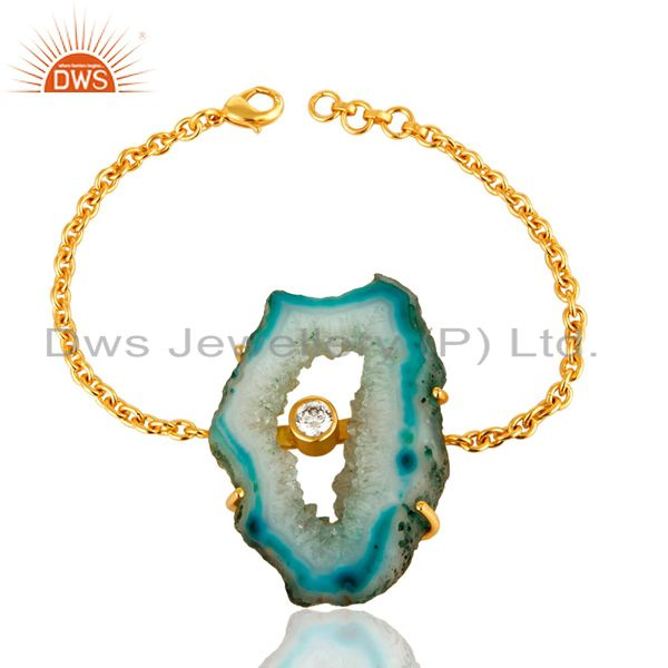 Natural Agate Druzy Slice 18K Yellow Gold Plated CZ Chain Bracelet