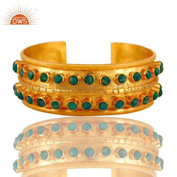 Handcrafted 22K Yellow Gold Plated Wide Cuff Bracelet Bangle With Amazonite