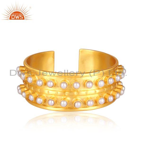 Handmade pearl set brass gold designer ethnic cuff bangle