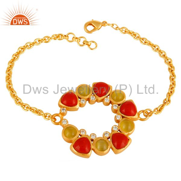 Natural Yellow Moonstone And Coral Designer Gold Plated Chain Bracelet