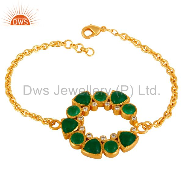 24K Yellow Gold Plated Green Aventurine Chain Bracelet With Lobster Lock