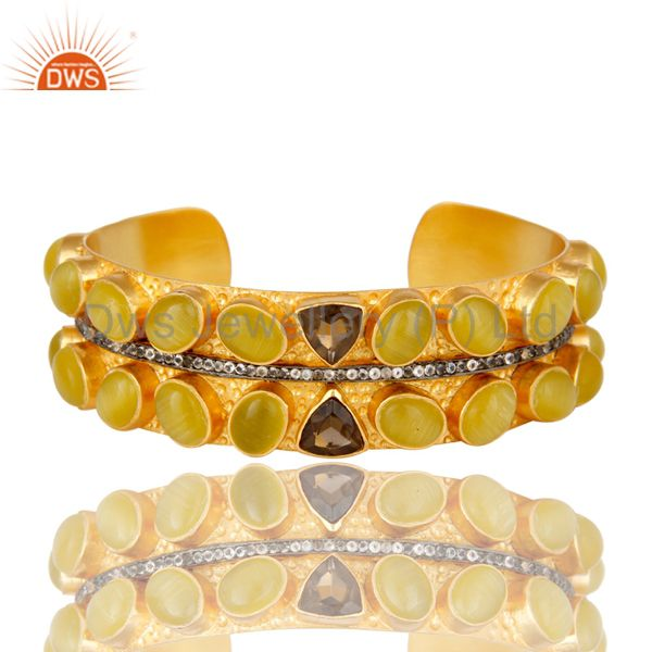 18k yellow gold plated yellow moonstone and smoky quartz wide cuff bracelet