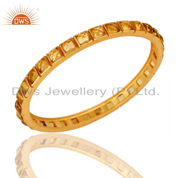 22K Yellow Gold Plated Citrine Glass Brass Bangle Bracelet