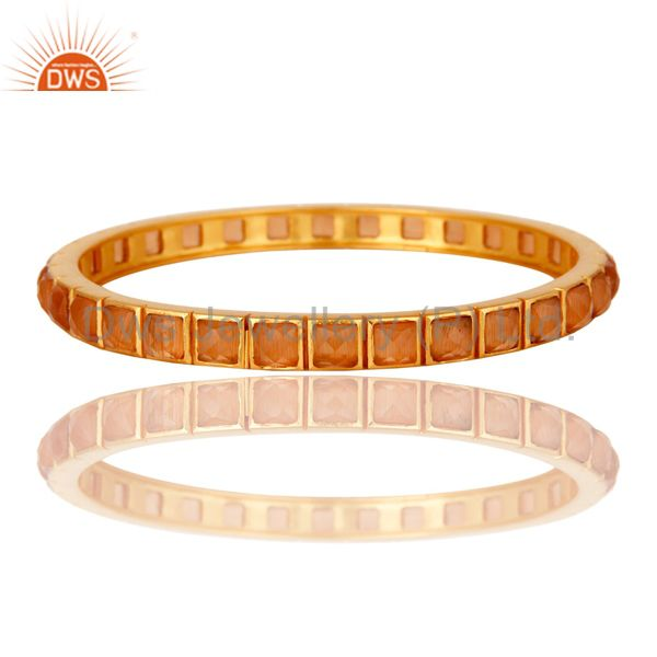 22K Yellow Gold Plated Peach Moonstone Brass Bangle Bracelet