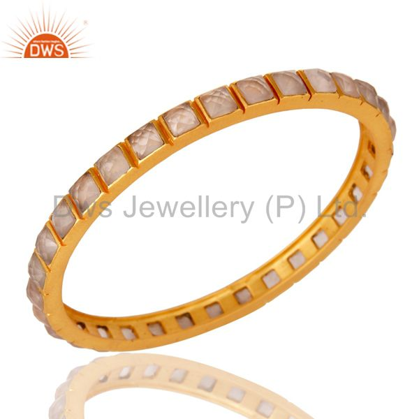 22K Yellow Gold Plated Rose Quartz Brass Bangle Bracelet