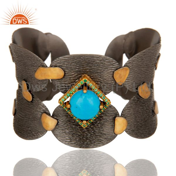 Black Oxidized Wide Cuff Unique Brass Bangle with Turquoise and Zircon
