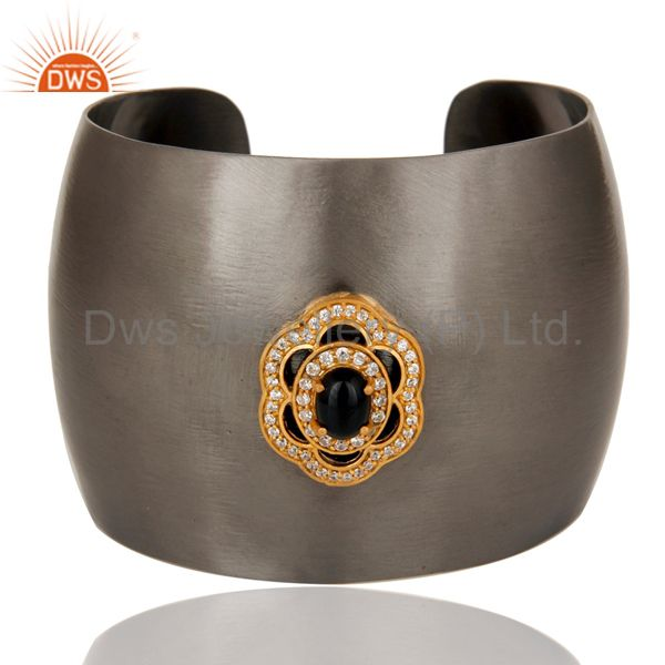 Black Oxidized Black Onyx and CZ Wide Cuff Handmade Fashion Jewelry Bangle