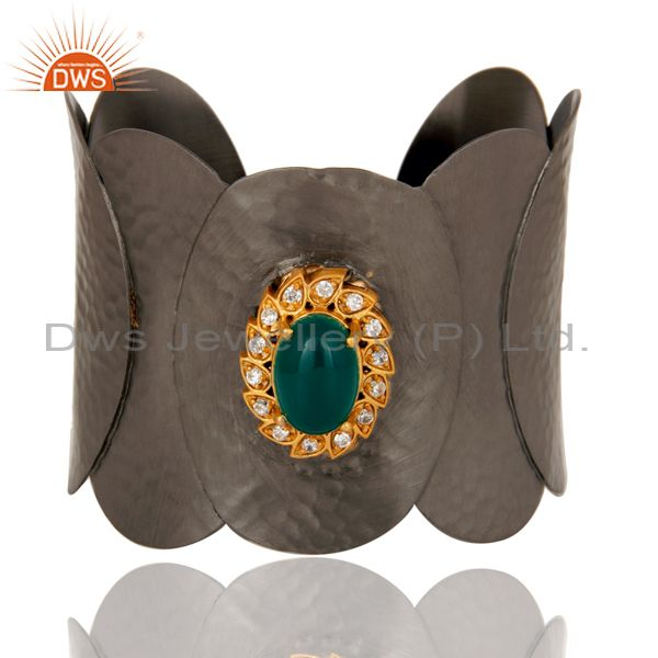 Green Onyx and CZ Black Oxidized Hammered Textured Cuff Fashion Jewelry